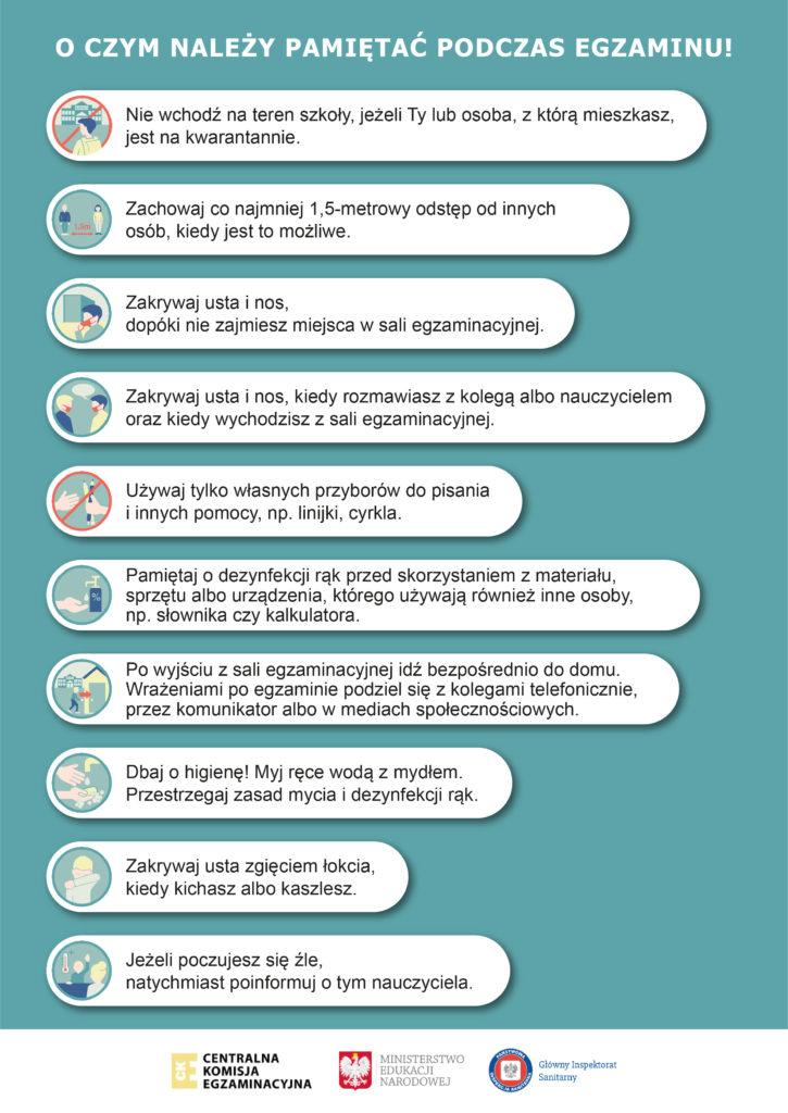 Zasady obowiązujące podczas egzaminu w trakcie pandemii